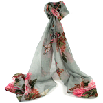 Roses Scarf - Grey