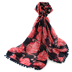 Fluffy Flamingo Scarf - Navy Blue