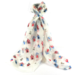 Beach Hut Scarf - White