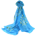 Embroidery Flower Scarf - Light Blue