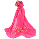 Embroidery Flower Scarf - Pink