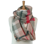 Snood Scarf - Check - Grey/Pink