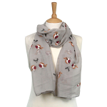 Robin and Holly Scarf - Grey