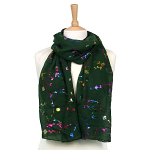 Multicoloured Flower Scarf - Dark Green