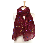 Multicoloured Flower Scarf - Dark Red