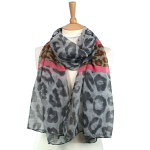 Animal Print Scarf - Pink on Grey