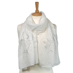 Butterfly Sequin Scarf - White