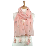 Heart Scarf with Pearls & Tassels - Light Pink