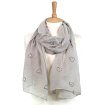 Heart Scarf with Pearls & Tassels - Grey
