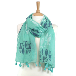 Fish Scarf - Aqua Green