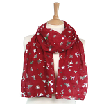 Christmas Foil Scarf - Dark Red