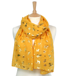 Christmas Foil Scarf - Mustard Yellow