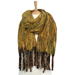 Large Winter Scarf - Multi Woven style in Mustard Yellow