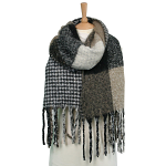 Large Winter Scarf - Reversible Check/Dog Scarf - Browns
