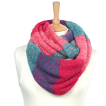 Snood Scarf - Block Pattern - Pink/Blue