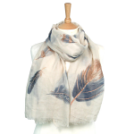 Feather with Sparkle Scarf - Cream/Gold