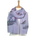 Feather with Sparkle Scarf - Lilac/Gold