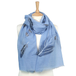 Feather with Sparkle Scarf - Blue/Silver