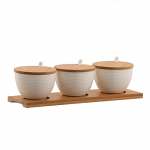 Belleek Living Ripple 3 Bowls Set with Tray