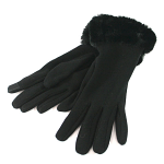 Gloves with Faux Fur Trim - Black