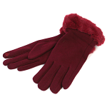 Gloves with Faux Fur Trim - Dark Red