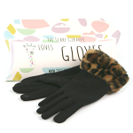 Gloves with Faux Fur Trim - Black Gloves with Brown Animal Print Trim