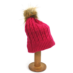 Bobble Pom Pom Hat with Cosy Lining - Pink