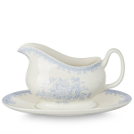 Burleigh Blue Asiatic Pheasants Gravy Boat & Stand