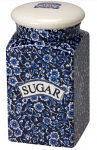 Burleigh Blue Calico Storage Jar for Sugar Square Sided With Lid