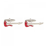Guitar Red & White Electric Cufflinks Rhodium Plated