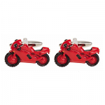 Motor Bike Sports Red Rhodium Cufflinks