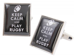 Keep Calm and Play Rugby Black Cufflinks