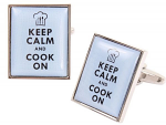 Keep Calm and Cook On Blue Cufflinks