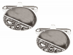 Oval Third Engraved Design Rhodium Cufflinks