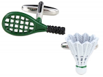 Badminton Racquet and Shuttlecock Cufflinks