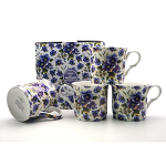 Heritage Bone China - Summer Pansy Mugs - Set of 4