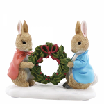 Beatrix Potter - Peter Rabbit and Flopsy Holding Holly Wreath
