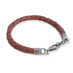 Brown Men's Leather Bracelet with Stainless Steel Chain Clasp 21cm