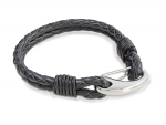 Black Men's Leather Double Bracelet with Twisted Ends