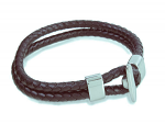 Brown Men's Leather Double Bracelet with Stainless Steel Clasp