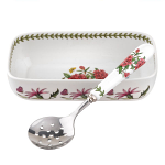 Portmeirion Botanic Garden Cranberry or Sauce Dish with Slotted Spoon