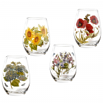 Portmeirion Botanic Garden Glasses Stemless Wine Set of 4 Assorted Motifs