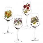 Portmeirion Botanic Garden Glasses Wine Set of 4 Assorted Motifs