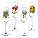 Portmeirion Botanic Garden Glasses Champagne Flutes Set 4 Assorted Motifs