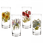 Portmeirion Botanic Garden Glasses High Ball Set of 4 Assorted Motifs