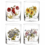 Portmeirion Botanic Garden Glasses Double Old Fashioned Tumbler Set of 4 Assorted Motifs
