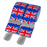 Union Jack 35mm Silver Clip Elasticated Braces