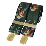 Green Stags Head 35mm Gold Clip Elasticated Braces