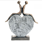 Bentley & Bo - Bronze Coloured Couple Sitting on a Rock Heart