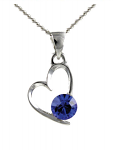 Birthstone Heart Pendant December Blue Topaz